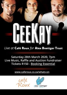 Ceekay in support of the Alex Boettger Trust @ cafe roux, Noordhoek