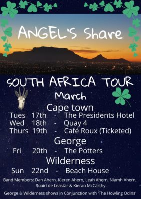St. Patricks Day with Angel's Share (Irish Band) @ cafe roux, Noordhoek