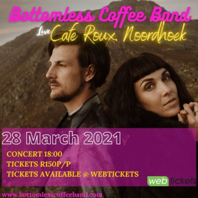 Bottomless Coffee Band Outdoor Seated Show. (Arrive 5pm. Music at 6pm) @ cafe roux, Noordhoek